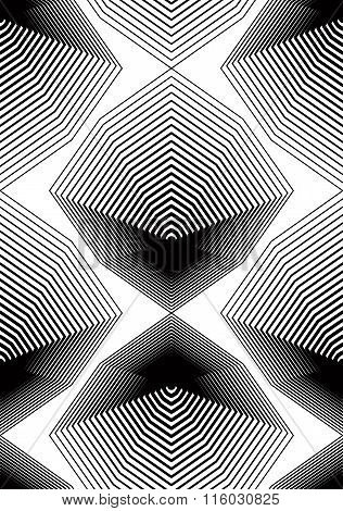 Black And White Illusive Abstract Seamless Pattern With Geometric Figures. Vector Symmetric Simple