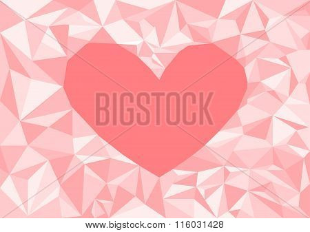 Low poly style vector,heart pink low poly design, low poly style illustration, Abstract low poly bac