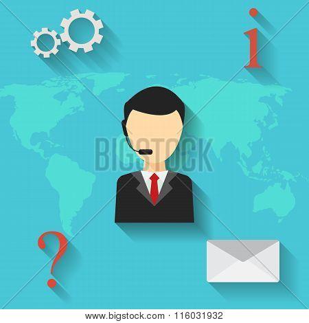 Man support operator. Vector illustration.