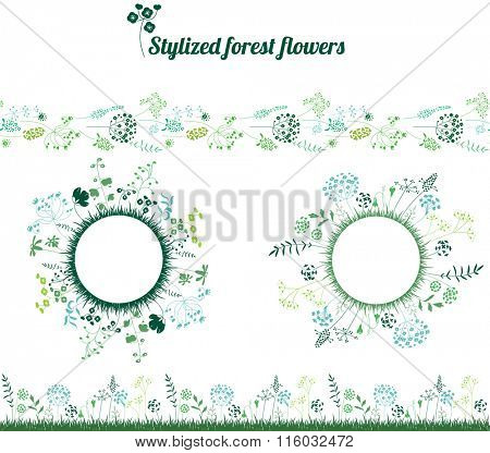 Round blank frames and seamless pattern brushes with stylized herbs and plants.  Elegant silhouette. Template for your design, floral greeting cards, announcements, posters.