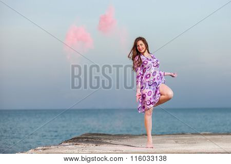 Beautiful Young Girl Dancing With Colors