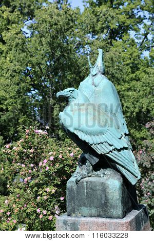 The Bronze Monument To A Pair Of Eagles In The Park In Helsinki
