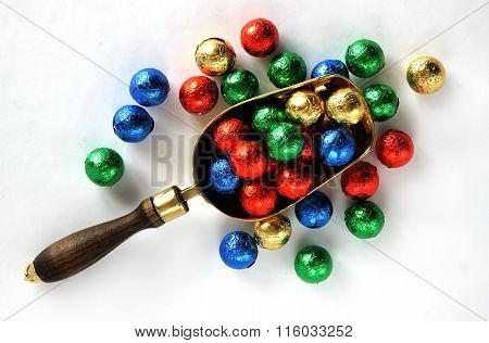 Candy Balls In Colorful Wrappers
