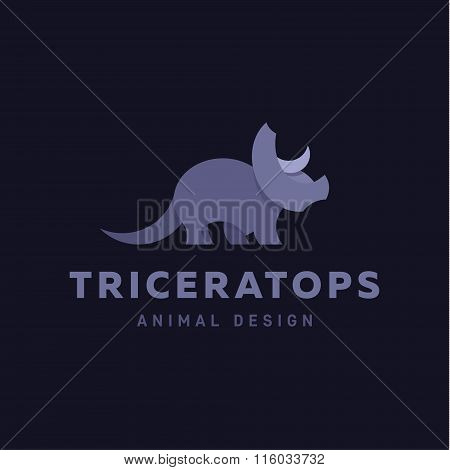 Triceratops Animals Design Dinosaur Illustration Graphics and Flat style Logo