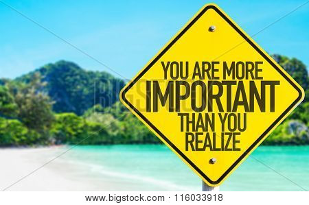 You Are More Important Than You Realize sign with beach background