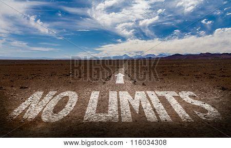 No Limits written on desert road