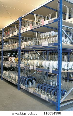 Shelves And Racks In Distribution Storehouse Interior.
