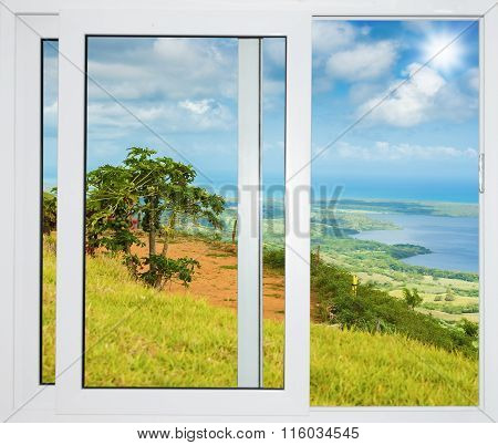 Nature Landscape With A View Through A Window