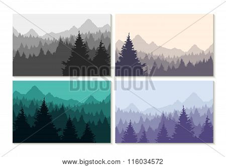 Concept Illustration Winter Forest Landscape Set