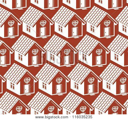 Love And Harmony At Home Conceptual Vector Background, Abstract Houses. Real Estate Theme Symmetric