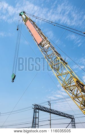 Truck Crane Boom With Hooks In Construction Site