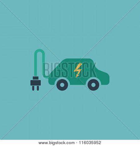 Electric car flat icon