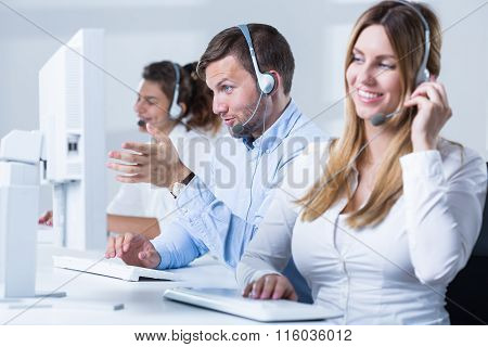 Female Telemarketer During Work