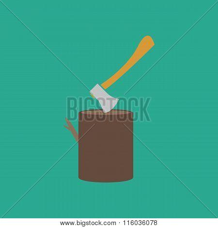 Tool lumberjack ax in a wooden deck