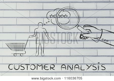 Hand With Magnifying Glass & Text Customer Analysis