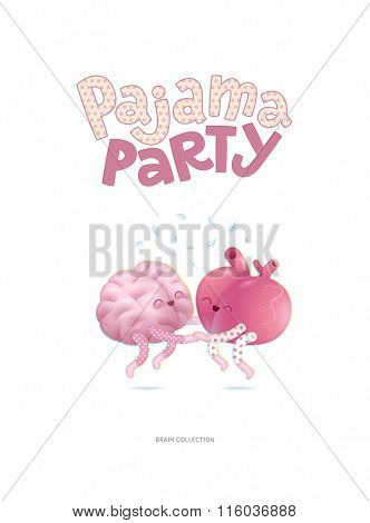 Pajama party - the vector illustrated poster of a brain and a heart wearing pajamas jumping together holding their hands with lettering. A part of Brain collection.