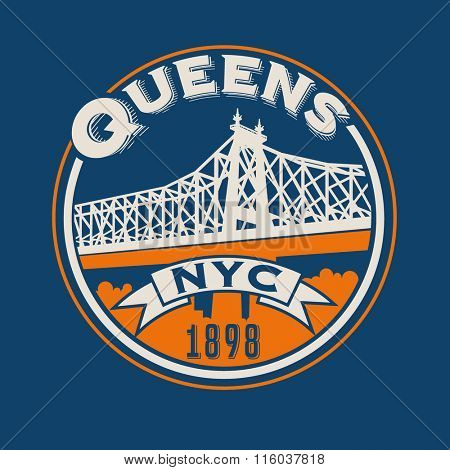 vintage t-shirt sticker emblem design. Queens, New York City and Queensboro Bridge