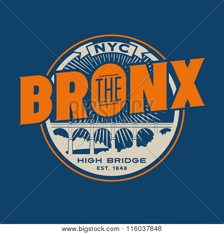 vintage t-shirt sticker emblem design. The Bronx New York City lettering with historic High Bridge
