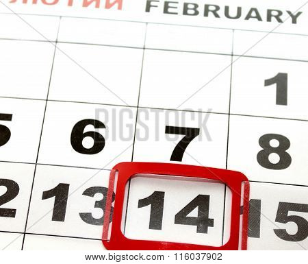 February 14 on the calendar, Valentine's Day.