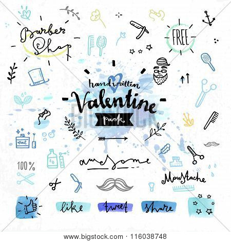 Male Hair Style Valentines Day Vector Graphics