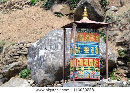 Old Buddhist Mani Stones Prayer Wheels With Sacred Mantras On The Way To Everest Base Camp, Nepal
