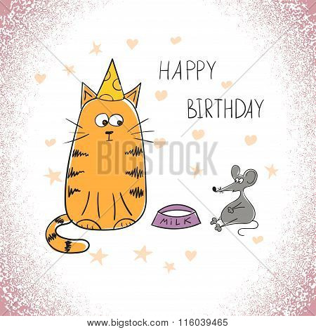 Happy birthday greeting card with cute cat.