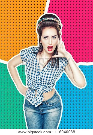 Woman In Retro Pin-up Style Shouting With Her Hand On Halftone Background