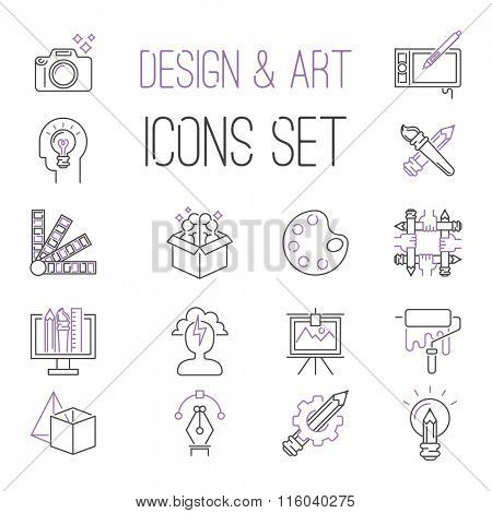 Graphic design sign vector icons thin outline style. Design creative idea icons. Brainstorm, idea, teamwork. Design studio website vector icons concept