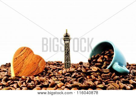 The Eiffel tower, a heart and coffee