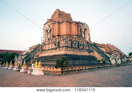 Ancient Pagoda In Wat Chedi Luang,Chiaing Mai,Thailand.