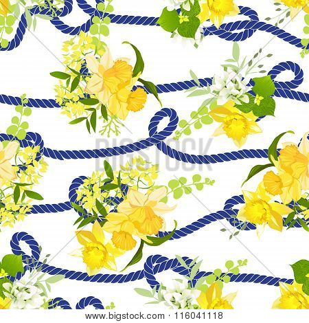 Twisted Blue Marine Rope And Yellow Spring Bouquets Of Flowers Seamless Vector Print