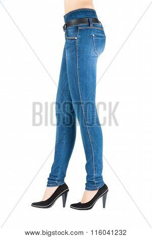 Legs In Jeans And Boots Belongs To Beautiful.
