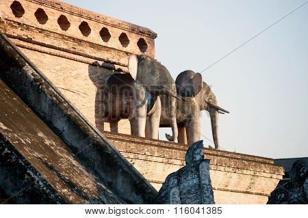 Elephant Statue Of Ancient Pagoda In Wat Chedi Luang,Chiang Mai,Thailand.