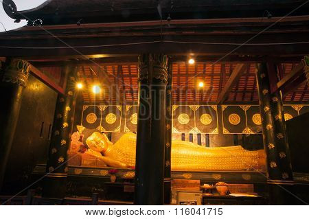 Golden Reclining Buddha Of Ancient Pagoda In Wat Chedi Luang,Chiang Mai,Thailand.