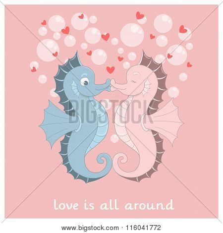 Vector Seahorses With Hearts