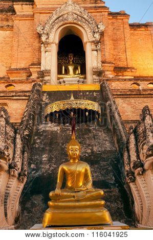 Golden Sitting Buddha On Ancient Pagoda In Wat Chedi Luang,Chiang Mai,Thailand.