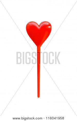 Canape of heart shape red color isolated on white background. Colorful skewer for snacks. Clipping p