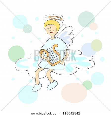 Cartoon angel with harp on the cloud.