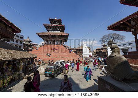 Kathmandu, Nepal - February 10, 2015: The Famous Durbar Square On February, 10, 2015 In Kathmandu, N