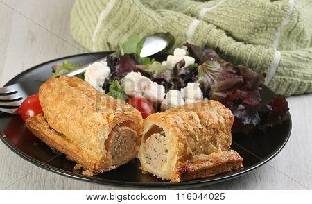 Sausage Roll And Salad