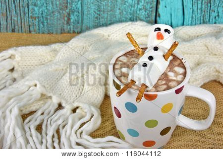 hot chocolate drink with snowman