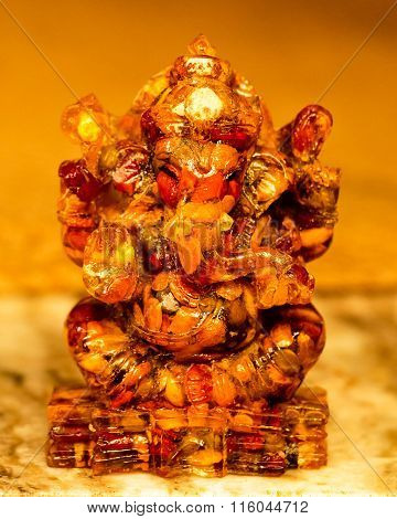 Statue of Lord Ganesha made from nine type of grains inside wax mould