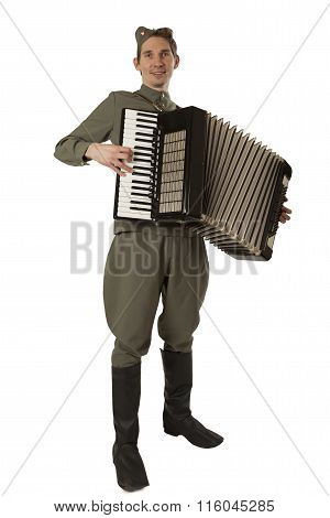 Soviet Soldier With Accordion