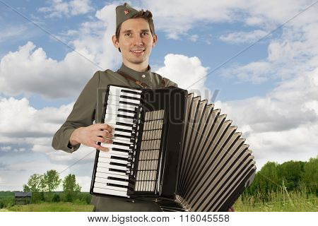 Soldier Of Red Army Playing The Accordion