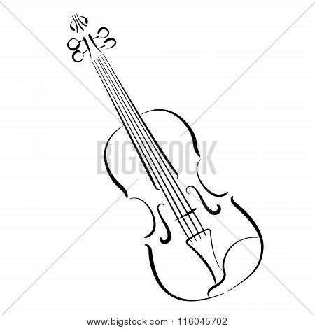 Sketched violin isolated on white background.