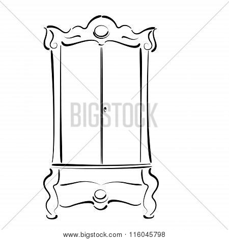 Sketched vintage wardrobe isolated on white