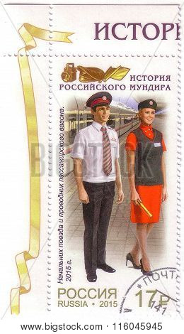 Russia-circa 2015:a Stamp Printed In Russia,shows Trainmaster And Conductor Of The Passenger Car, Se