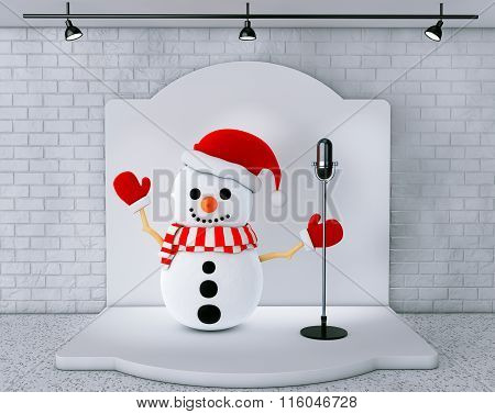 Snowman With Vintage Microphone Standing On An Stage