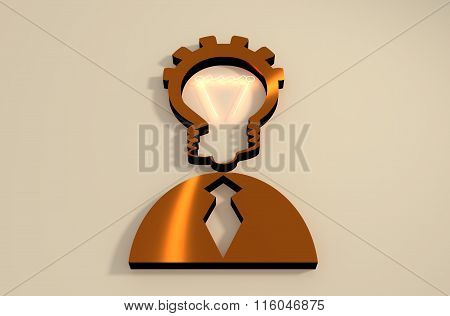Lamp Head Businessman 3D Icon