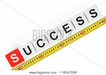Masure Success Concept. Success Cubes With Measuring Tape
